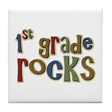 1st Grade Rocks First School Tile Coaster
