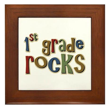 1st Grade Rocks First School Framed Tile
