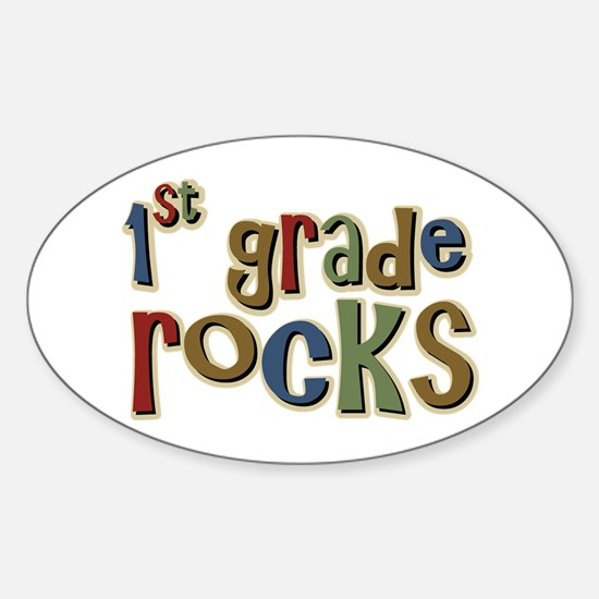1st Grade Rocks First School Oval Decal