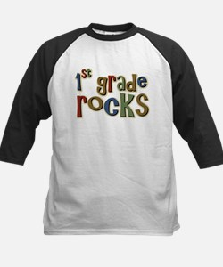 1st Grade Rocks First School Kids Baseball Jersey