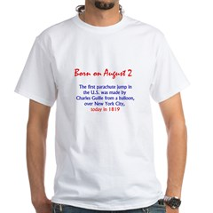 White T-shirt: First parachute jump in the U.S. wa