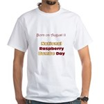 White T-shirt: Raspberry Bombe Day