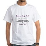 White T-shirt: Patent for the Kinetoscope, the fir