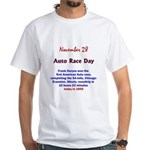 White T-shirt: Auto Race Day Frank Duryea won the
