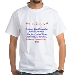 White T-shirt: Benjamin Franklin, author, publishe
