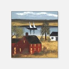 Red Farmhouse with Sailboat Sticker