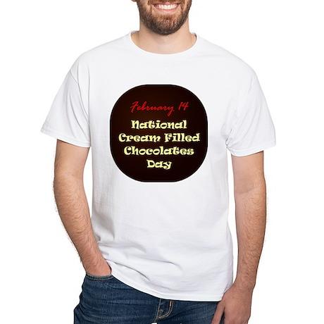 White T-shirt: Cream Filled Chocolates Day