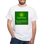 White T-shirt: Tennis Day Major Walter Winfield pa