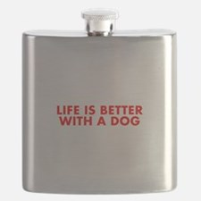 Life is better with a dog-Fut red Flask