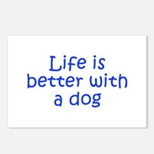 Life is better with a dog-Kri blue Postcards (Pack