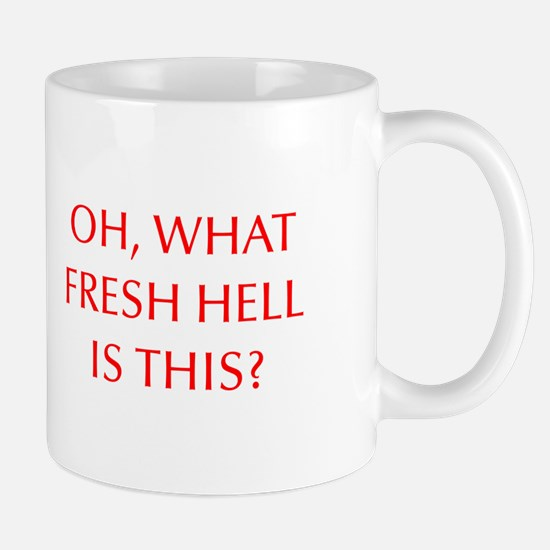 Oh what fresh hell is this-Opt red Mugs