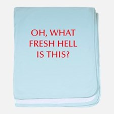 Oh what fresh hell is this-Opt red baby blanket