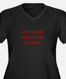 Oh what fresh hell is this-Opt red Plus Size T-Shi