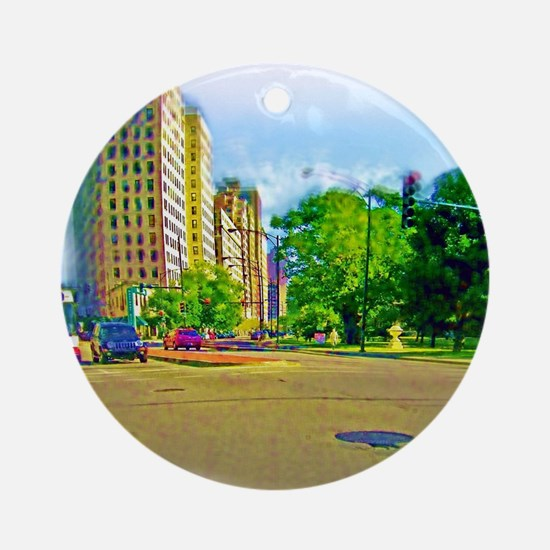 Air Brushed Lincoln Avenue Ornament (Round)