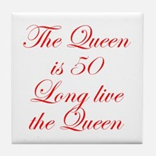 Queen is 50-Edw red Tile Coaster