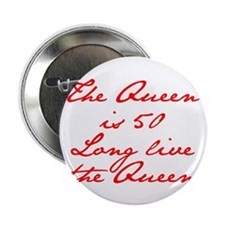 """Queen is 50-Jan red 2.25"""" Button (100 pack)"""