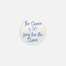 Queen is 50-MAS blue Mini Button (10 pack)