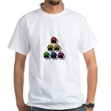 6 RAINBOW BEAR PAWS SHADOWED White T-shirt