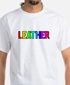 LEATHER RAINBOW COLORED TEXT White T-shirt