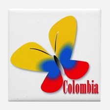 Cute Colombian Butterfly Tile Coaster