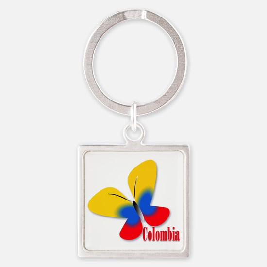 Cute Colombian Butterfly Square Keychain