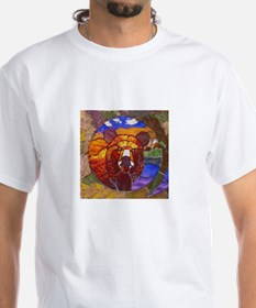 STAINED GLASS BEAR PICTURE2 White T-shirt