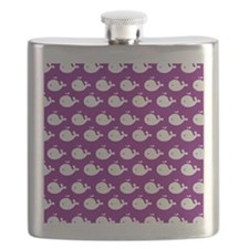 Purple and White Cute Whimsical Whales Patte Flask