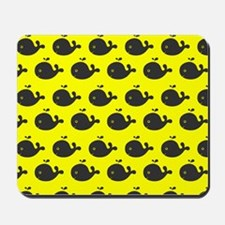 Yellow and Gray Cute Whimsical Whales Pa Mousepad