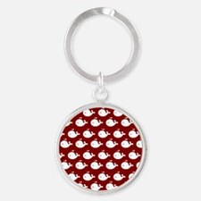 Red and White Cute Whimsical Whales Round Keychain