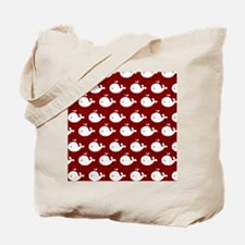 Red and White Cute Whimsical Whales Patte Tote Bag