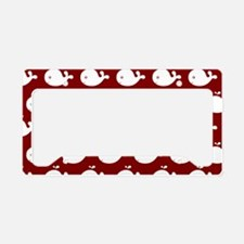 Red and White Cute Whimsical License Plate Holder