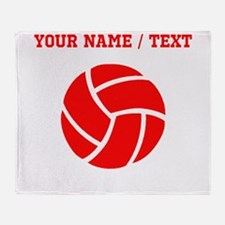Red Volleyball (Custom) Throw Blanket