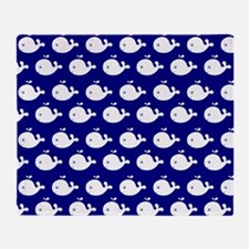 Navy Blue and White Cute Whimsical W Throw Blanket