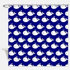 Navy Blue and White Cute Whimsical Shower Curtain