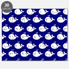 Navy Blue and White Cute Whimsical Whales P Puzzle