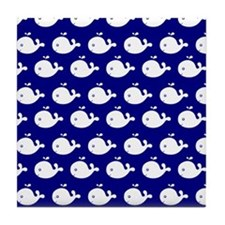 Navy Blue and White Cute Whimsical Wh Tile Coaster