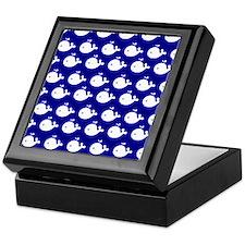 Navy Blue and White Cute Whimsical Wh Keepsake Box