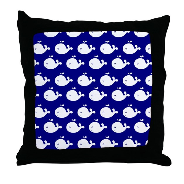 Cute Navy Pillow : Navy Blue and White Cute Whimsical Wh Throw Pillow by bimbys