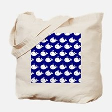 Navy Blue and White Cute Whimsical Whales Tote Bag