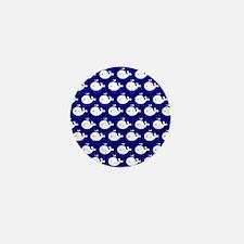 Navy Blue and White Cute Whimsical Wha Mini Button