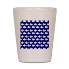 Navy Blue and White Cute Whimsical Whal Shot Glass