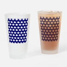 Navy Blue and White Cute Whimsical Drinking Glass