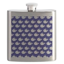 Navy Blue and White Cute Whimsical Whales Pa Flask