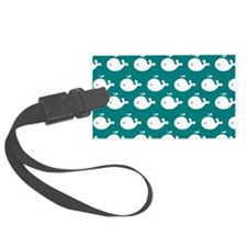 Teal and White Cute Whimsical Wh Luggage Tag