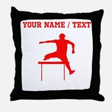 Red Hurdles Silhouette (Custom) Throw Pillow