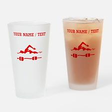 Red Swimmer (Custom) Drinking Glass