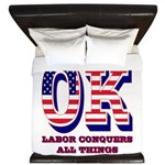 Oklahoma OK Labor Conquers All Things King Duvet