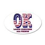 Oklahoma OK Labor Conquers A 35x21 Oval Wall Decal
