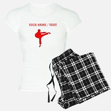 Red Karate Kick Silhouette (Custom) Pajamas