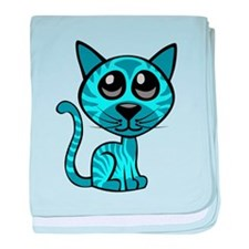 Blue Kitty baby blanket